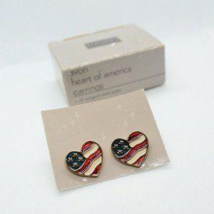 Vintage Avon Heart Of America Earrings 1992
